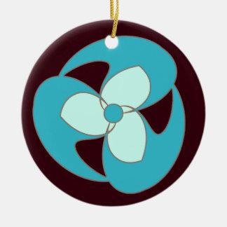 Retro sichelförmige Blume (Himmel-Blau) Keramik Ornament