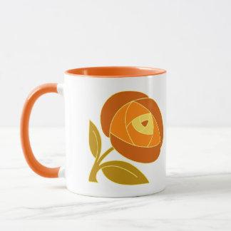 Retro Siebzigerart-Rosen-Blumenorange Tasse