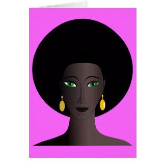 Retro Siebzigerjahre Afro-Grün-mit Augen Frauen-Ca Grußkarte