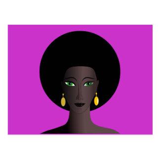 Retro Siebzigerjahre Afro-Grün-mit Augen Frauen-Ca Postkarten