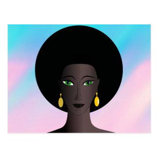 Retro Siebzigerjahre Afro-Grün-mit Augen Frauen-Ca Postkarte