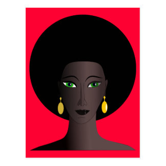 Retro Siebzigerjahre Afro-Grün-mit Augen Postkarten