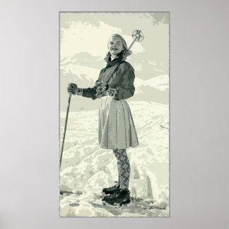 RETRO SKI-MÄDCHEN-SPORT PLAKATE