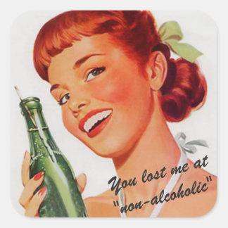 Retro Soda-Anzeigen-Witz Quadratischer Aufkleber