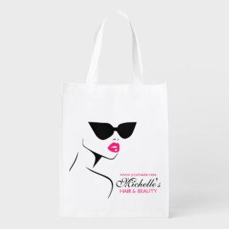 Retro Sonnenbrille Haar und Schönheit bildet das Wiederverwendbare Einkaufstasche