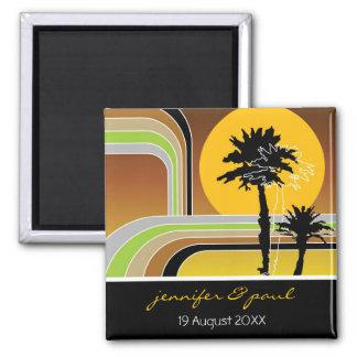 Retro Sonnenuntergang-tropischer Feiertag Save the Quadratischer Magnet