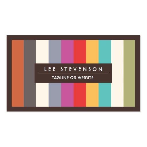 Retro Spaß-bunte multi Streifen Striped Visitenkarten Vorlage