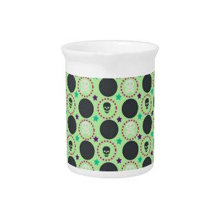 Retro Spaß-Grün-Schädel-Muster Krug