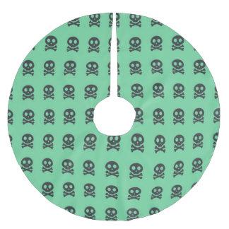Retro Spaß-Grün-Schädel-Muster Polyester Weihnachtsbaumdecke