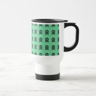 Retro Spaß-Grün-Schädel-Muster Reisebecher