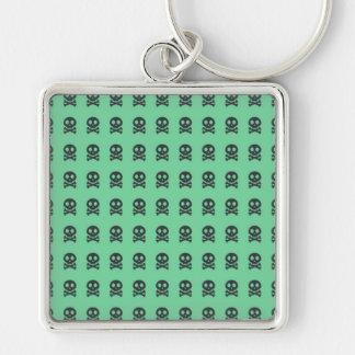 Retro Spaß-Grün-Schädel-Muster Schlüsselanhänger