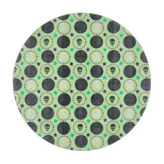 Retro Spaß-Grün-Schädel-Muster Schneidebrett