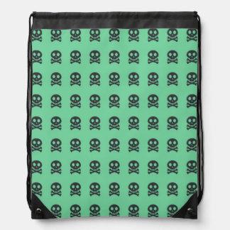 Retro Spaß-Grün-Schädel-Muster Sportbeutel