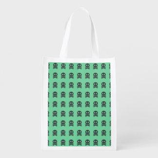 Retro Spaß-Grün-Schädel-Muster Wiederverwendbare Einkaufstasche