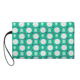 Retro Spaß-Grün-Schädel-Muster Wristlet Handtasche