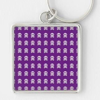 Retro Spaß-lila Schädel-Muster Schlüsselanhänger