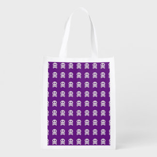 Retro Spaß-lila Schädel-Muster Wiederverwendbare Einkaufstasche