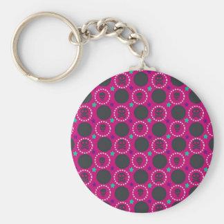 Retro Spaß-Rosa-Schädel-Muster Schlüsselanhänger