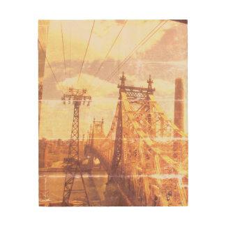 Retro Stadtbild Holzdruck