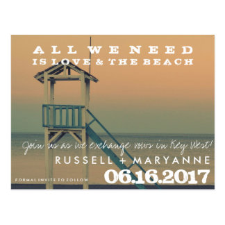 Retro Strand-Hochzeits-Save the Date Postkarten