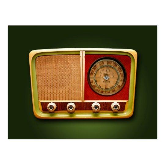 retro style radio postkarte