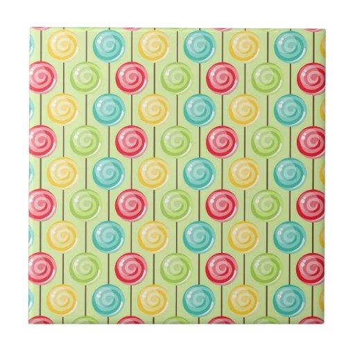 Retro Süßigkeits-Lutscher-Muster Fliese