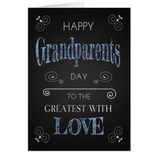 Retro Tafel für Großeltern-Tag mit Wirbel Karte