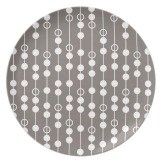 Retro Taupe-und Weiß-Entwurf Flacher Teller