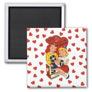 Retro Teens mit PlattenVintagem Valentine-Magneten Quadratischer Magnet