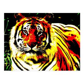 Retro Tiger-Pop-Kunst Postkarten