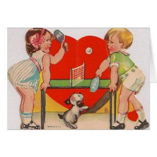 Retro Tischtennis-Valentinstag-Karte Grußkarte