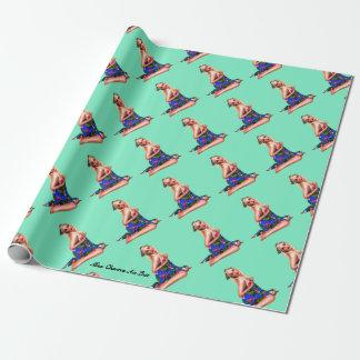 Retro tropisches Strandpinup-Mädchen-gemustertes Einpackpapier