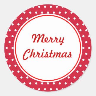 Retro Tupfen-frohe Weihnacht-Aufkleber Runder Aufkleber