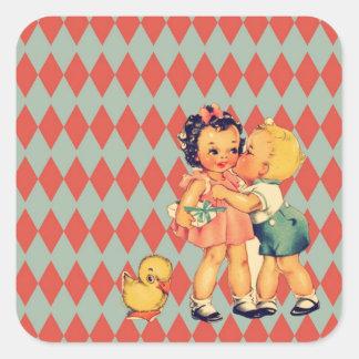 Retro Valentinekitsch-Vintage Kinder Quadratischer Aufkleber