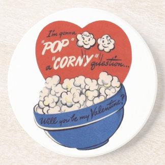 Retro Valentinstag, Popcorn-Pop eine blöde Frage Getränkeuntersetzer