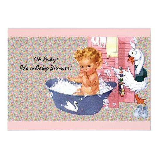 Retro Vierzigerjahre Babyparty 12,7 X 17,8 Cm Einladungskarte