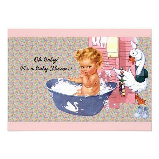 Retro Vierzigerjahre Babyparty Personalisierte Einladungskarte