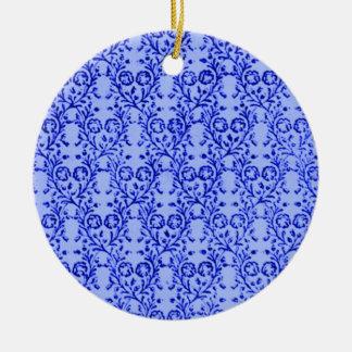 Retro Vintage blaue runde mit Blumenverzierung Weinachtsornamente