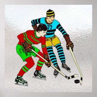 Retro Vintage Eis-Hockey-Spieler-alte Comic-Art Poster