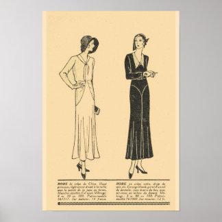 Retro Vintage französische Mode, Tag kleidet 1931 Poster