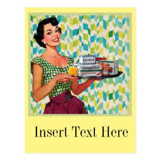 Retro Vintage Fünfzigerjahre Hausfrau, die Nahrung Postkarte