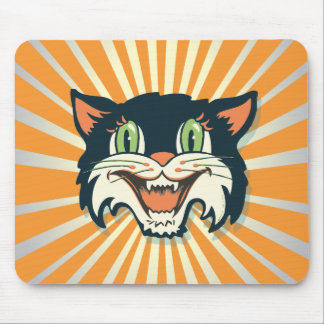 Retro Vintage Halloween-Katze Mauspad
