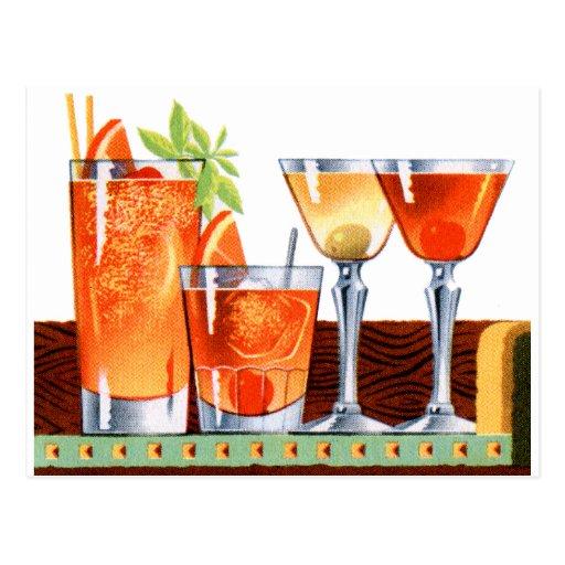 Retro Vintage Kitsch-60er Cocktail-Getränk-Martini Postkarten