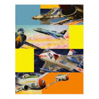 Retro Vintage Kitsch-Kämpfer-Jet-Illustrationen Postkarte