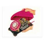 Retro Vintage Kitsch-Sechziger-Telefon-Telefon-Ein Postkarten
