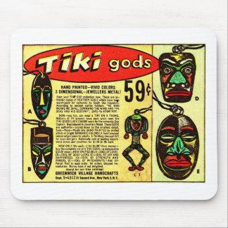 Retro Vintage Kitsch Tiki Gott-Comic-Anzeige Mousepads