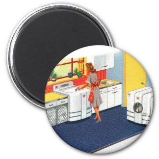 Retro Vintage Kitsch-Vorort-50er Waschmaschine u.  Runder Magnet 5,7 Cm