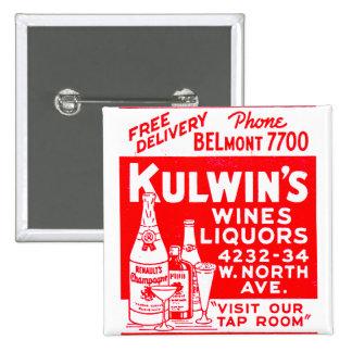 Retro Vintage KitschMatchbook Kulwins Alkohole Quadratischer Button 5,1 Cm