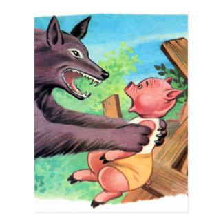 Retro Vintage kleine Schweine u. Wolf des Postkarte