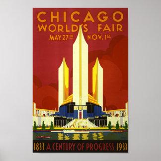 Retro Vintage Messe-Anzeigereise Chicago-Welt Poster